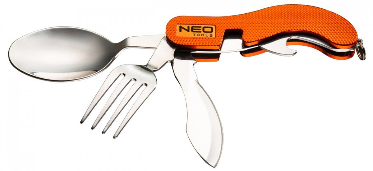 NEO TOOLS 63-027 nůž skládací kemping se lžící a vidličkou