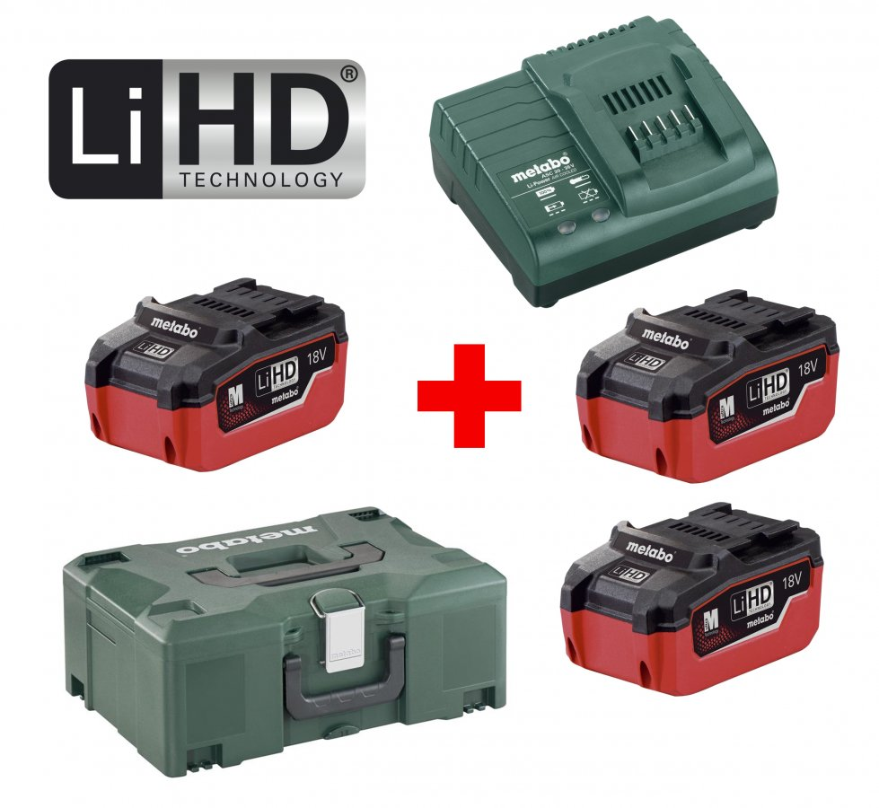 METABO Basic Set 18V LiHD (3x akumulátor 5.5Ah+nabíječka ASC 30-36+MetaLock II) 685069