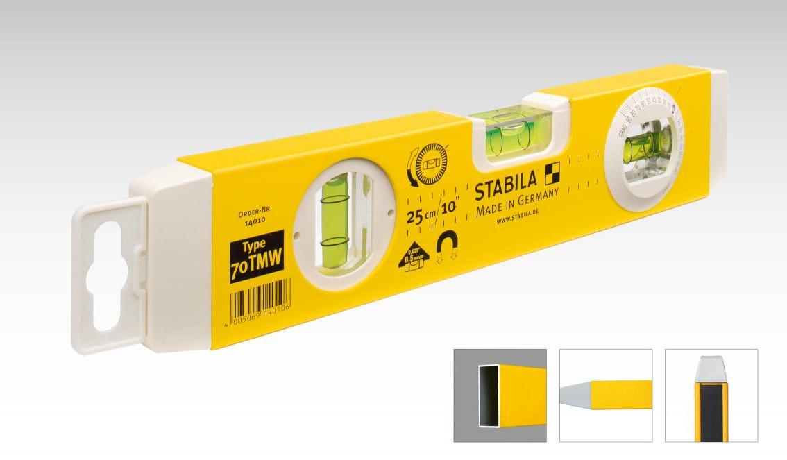 STABILA 70 TMW vodováha TORPEDO (25cm) magnet, otočná libela, 14010