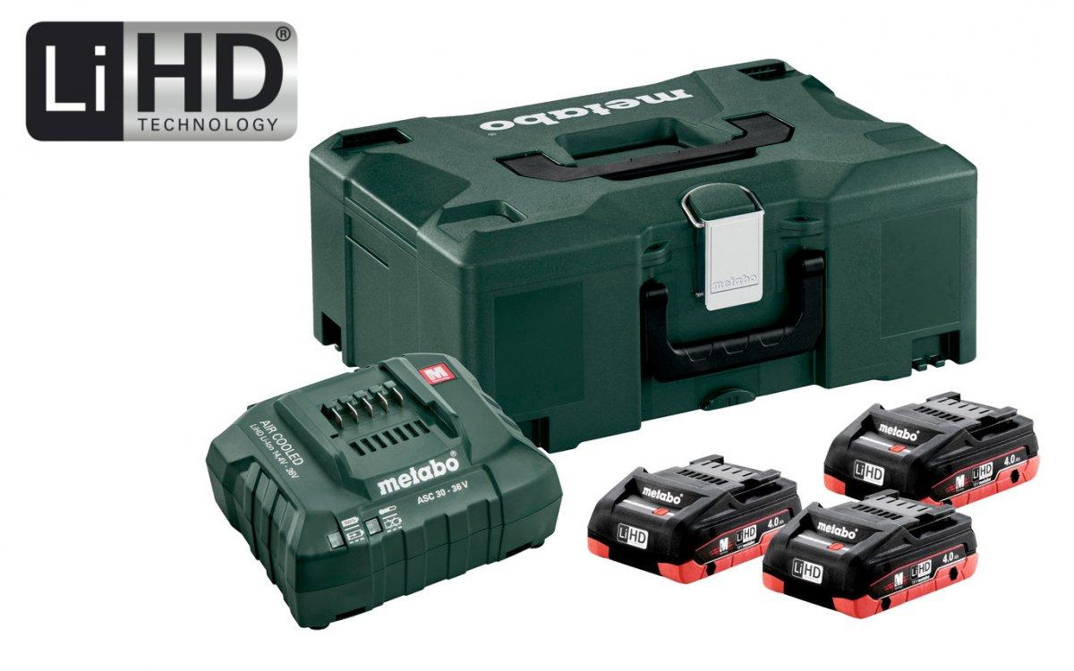 METABO Basic Set 18V LiHD (akumulátor 3x4.0Ah+nabíječka ASC 30-36+MetaLock II) 685133