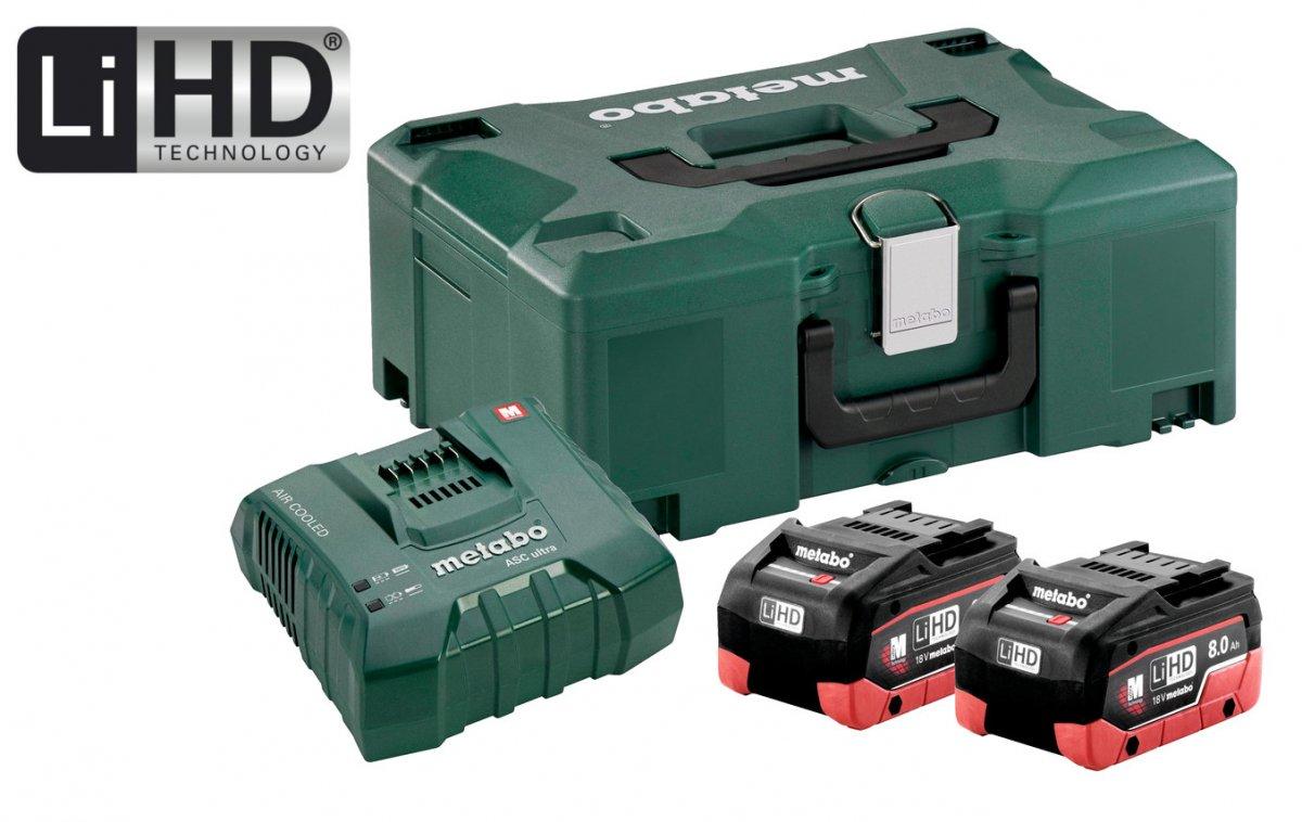 METABO Basic Set 18V LiHD (akumulátor 2x8.0Ah+nabíječka ASC Ultra +MetaLock II) 685131