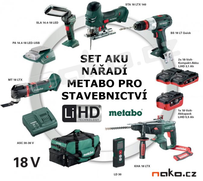 metabo profi combo set aku n ad stavebnictv 18v lihd 2x5 5 a 1x3 1ah 690913 nako pardubice. Black Bedroom Furniture Sets. Home Design Ideas