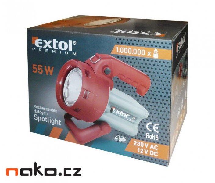 EXTOL PREMIUM 8862122 halogenová nabíjecí svítilna s bočním světlem 55W