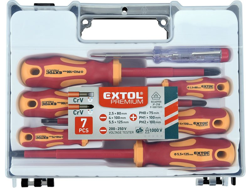 EXTOL PREMIUM 53087 sada elektrikářských izolovaných šroubováků se zkoušečkou, 7ks CrV