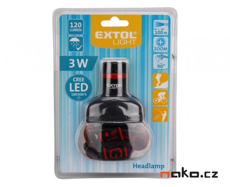 EXTOL LIGHT 43100 čelovka 3W CREE LED