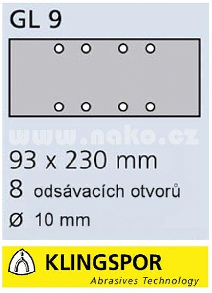 KLINGSPOR PS31B 93x230mm K 40 brusný papír, děrování GL9