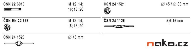 NAREX Bučovice kazeta M2-II NO (M12-M20) sadové závitníky + očka 310200