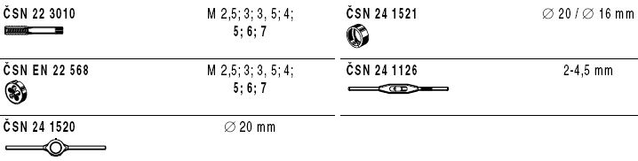 NAREX Bučovice kazeta M0-II NO (M2.5-M7) sadové závitníky + očka 310070