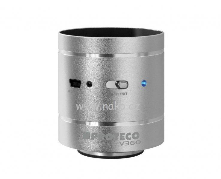 Vibrační reproduktor SPEAKER V360 stříbrný HiFi -Bluetooth, USB