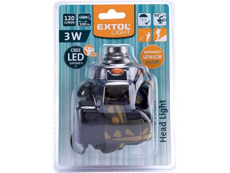 EXTOL LIGHT 43104 čelovka CREE 3W XPE LED se sensorem