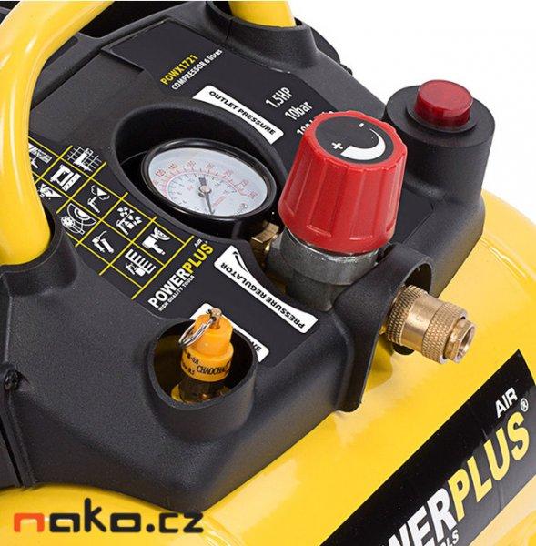 POWERPLUS POWX1721 bezolejový kompresor 6l