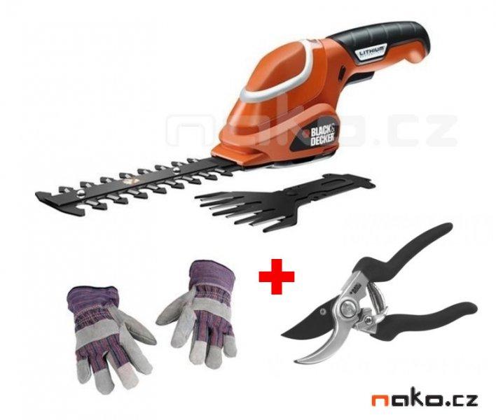 BLACK&DECKER GSL700KIT aku nůžky na trávu a keře 7,2V Lion + rukavice a nůžky