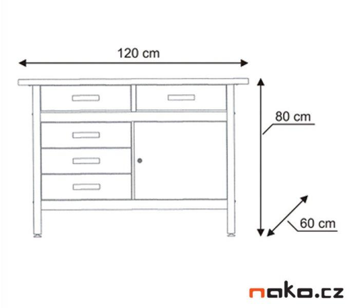 MARS 5802 dílenský pracovní stůl 5x zásuvka, 1x dvířka