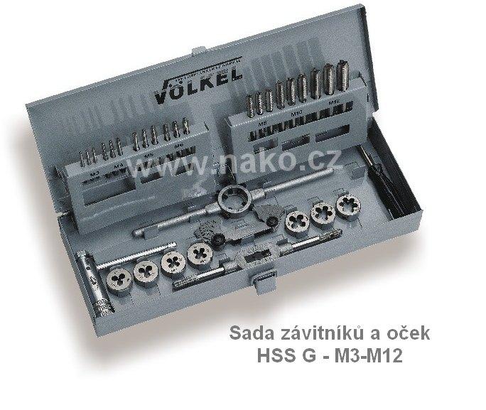 VÖLKEL 49501 kazeta M3-M12 závitníky + očka HSS G (M1-II)