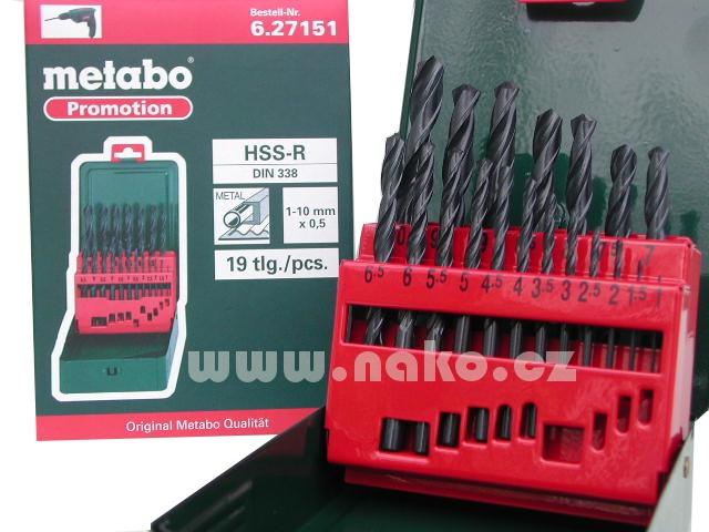 METABO sada vrtáků HSS 19 dílů 1-10mm po 0,5mm