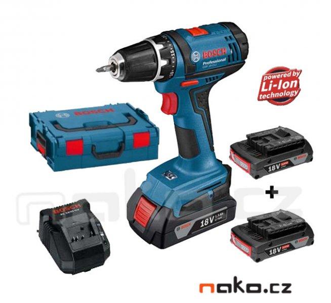 BOSCH GSR 18-2-LI Professional aku vrtačka 3x 18V/2.0Ah LiIon, kufr L-Boxx 0615990HU9