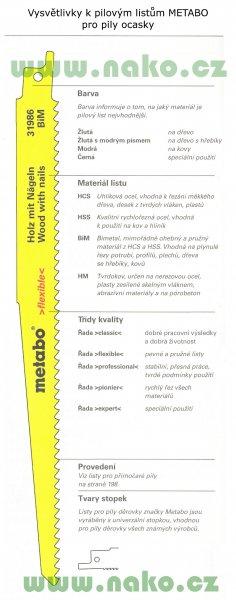 Metabo pilový list 225x3.2/5.1 BiM do ocasky, dřevo/kov