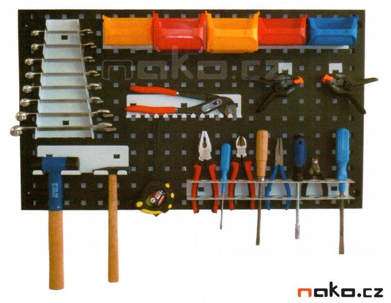 Nástěnný panel na nářadí se sadou držáků 760x440mm