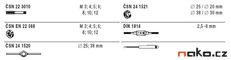 NAREX Bučovice kazeta M1-II NO (M3-M12) sadové závitníky + očka 310120