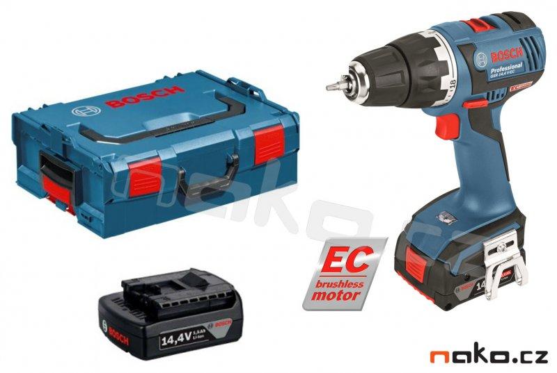 BOSCH GSR 14,4 V-EC Professional aku vrtačka 2x4Ah Li-Ion, bezuhlíkový motor, 06019E8001