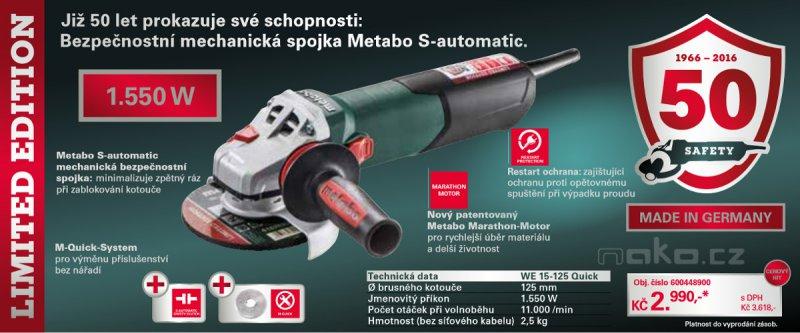 METABO WE 15-125 Quick úhlová bruska Limited Edition 6004489