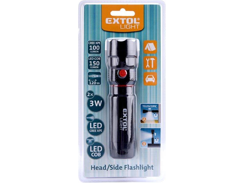 EXTOL LIGHT 43117 svítilna LED CREE 3W COB s magnetem