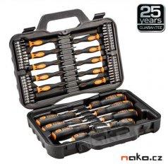 NEO TOOLS 04-211 sada šroubováků a bitů v kufru, ocel S2, 58ks