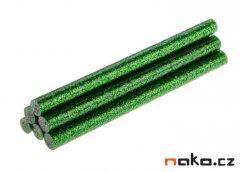 TOPEX 42E184 lepící tavné tyčinky 7mm zelené třpytky 6ks
