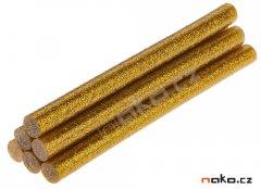 TOPEX 42E191 lepící tavné tyčinky 11mm zlaté třpytky 6ks