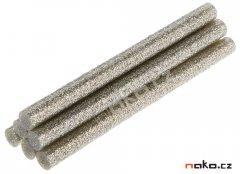 TOPEX 42E192 lepící tavné tyčinky 11mm stříbrné třpytky 6ks
