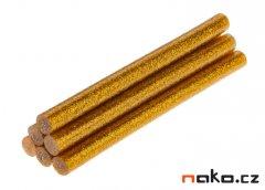 TOPEX 42E181 lepící tavné tyčinky 7mm zlaté třpytky 6ks