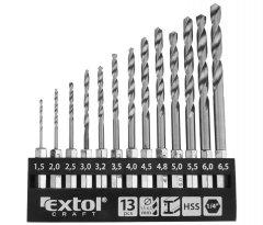 EXTOL CRAFT 11140 sada vrtáků do kovu se šestihrannou stopkou 13ks