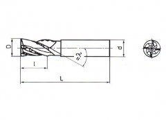 Fréza válcová čelní krátká 8x20mm-3břitá tvrdokovová