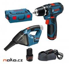 BOSCH GSR 12 V-Li+GAS 12 V-Li Professional L-Box 2x2Ah aku vrtačka+...