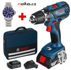 BOSCH GSR 18-2-Li Plus Professional aku vrtačka 2x2Ah LiIon, taška + hodinky 0615990H6V
