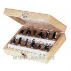 Sada fréz HM (12 dílů) dřevěná skříňka