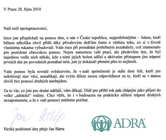 Děkovný dopis od ADRY