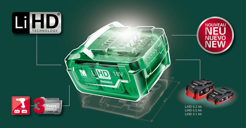 Metabo LiHD technologie akumulátorů
