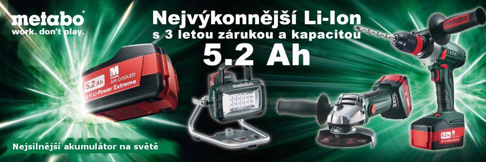 Nové akumulátory Metabo 18V/5,2Ah